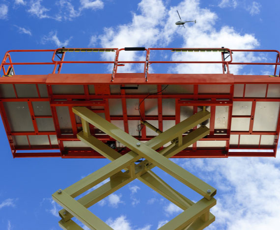 scissor lift working elevated platform